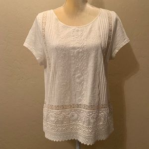 Anthro Meadow Rue ivory lace embroidered blouse